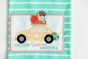 Machine Embroidered Tea Towel
