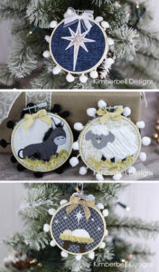 Machine Embroidered Nativity Ornaments