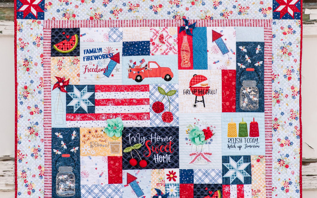 Fourth of July Traditions: Looking Forward to Kimberbell's Red, White, & Bloom Quilt for Sewing and Machine Embroidery