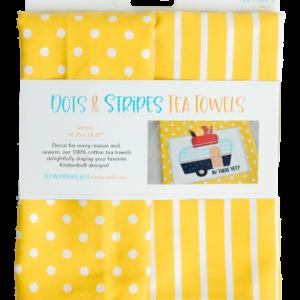 Dots & Stripes Tea Towel, Lemon