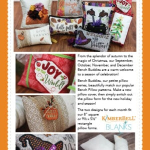 Bench Buddies:  Sept, Oct, Nov, Dec, Machine Embroidery