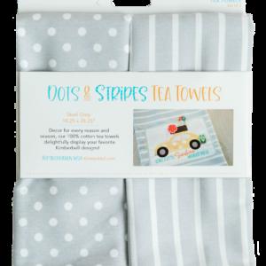 Dots & Stripes Tea Towel, Steel Grey