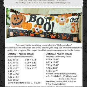 Halloween Boo! Bench Pillow, Machine Embroidery