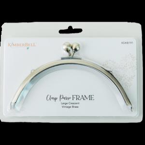 Clasp Purse Frame, Large Crescent-Vintage Brass