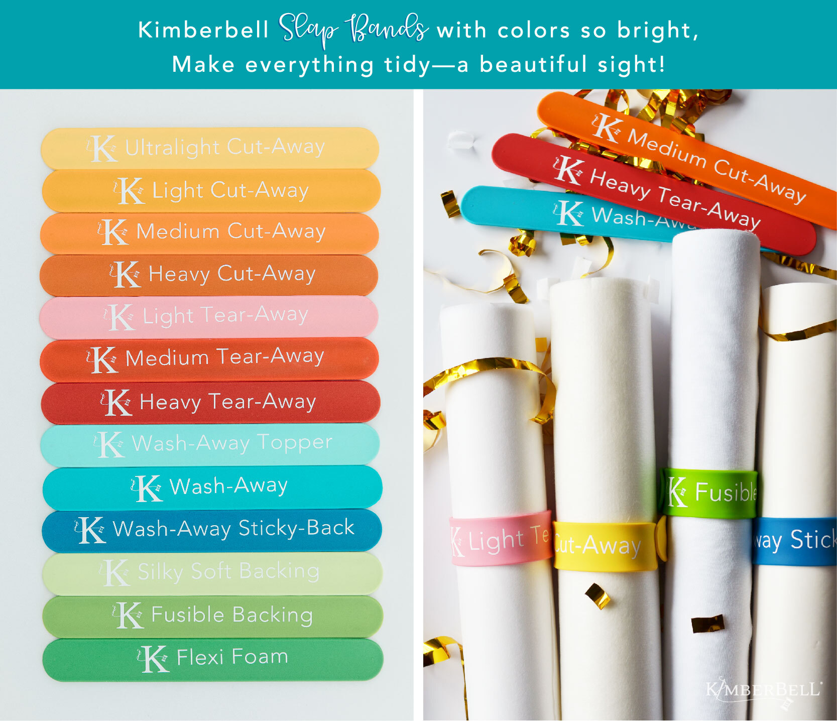 Kimberbell Stabilizer Slap Bands for machine embroidery stabilizer rolls