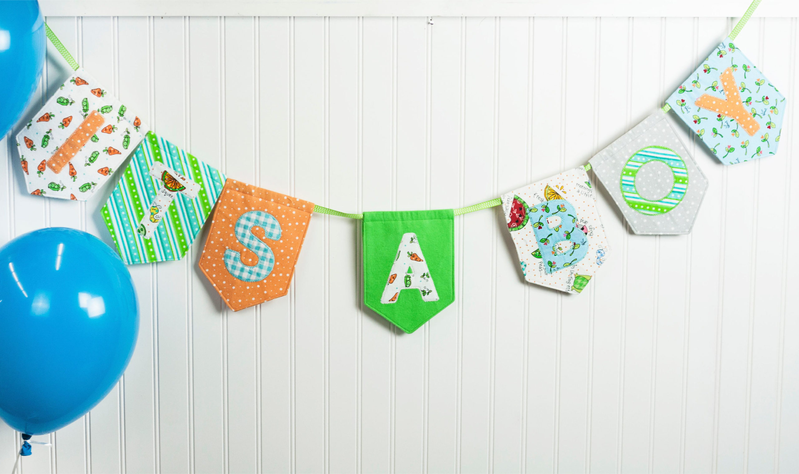 Baby nursery decor with pennants and banners for sewing and machine embroidery