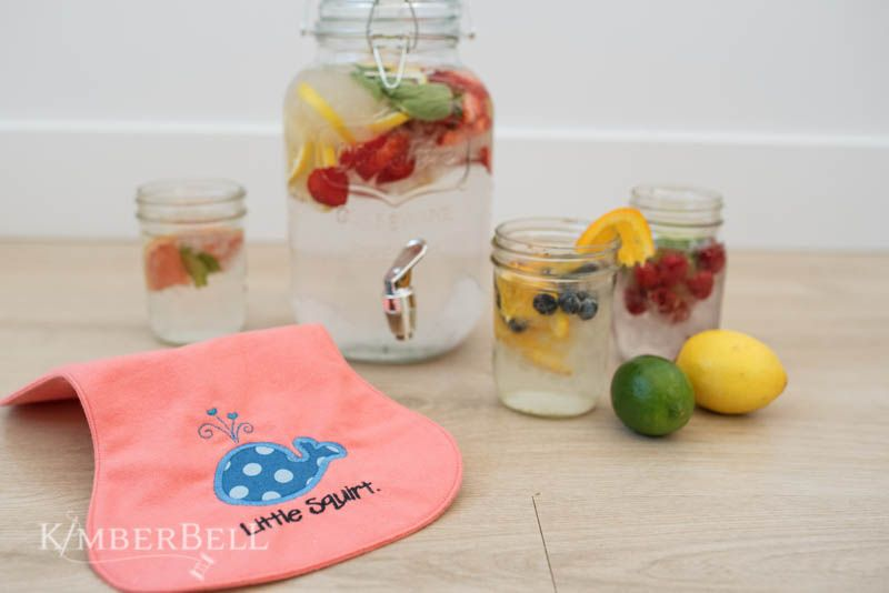 Little squirt applique design for machine embroidery and fruit-infused water recipes