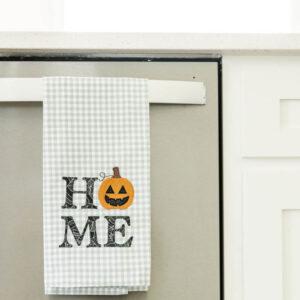 "Gingham & Stripe Tea Towels, Set of 2, Grey & Cream, Pack of 25 w/free Design ""Welcome Home, Pumpkin!"""