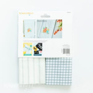 Gingham and Pinstripe Tea Towel Set, Grey and Cream